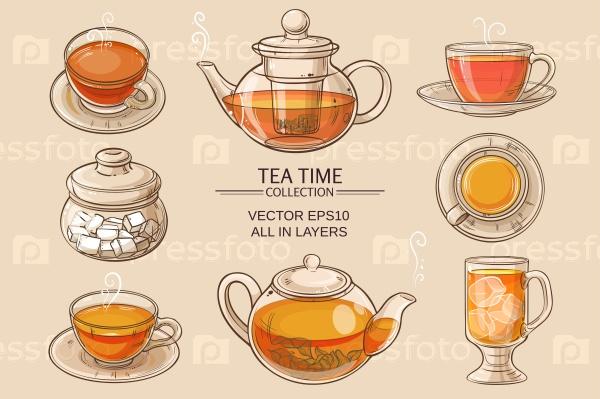 Чашка чая, чайник и чаша сахара набор на коричневом фоне