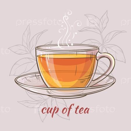 Иллюстрация с чашкой чая на цветном фоне