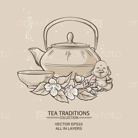 Иллюстрация с чайником, чаем чашей и жасмином