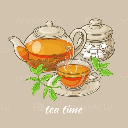 Иллюстрация с чаем