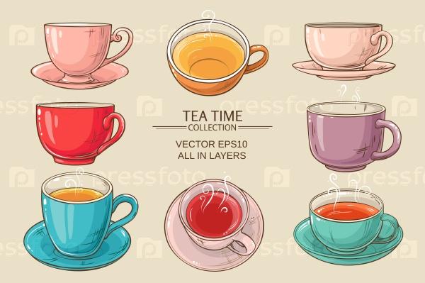 Чайные чашки набор на цветном фоне