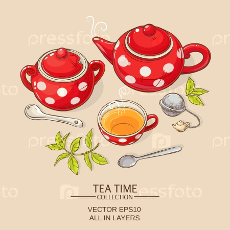 Чашка чая, чайник и сахарница