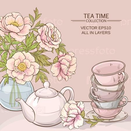 Иллюстрация с чашками, чайником и пионами на цветном фоне
