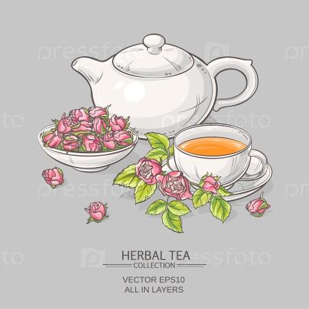 Чайные предметы с розами