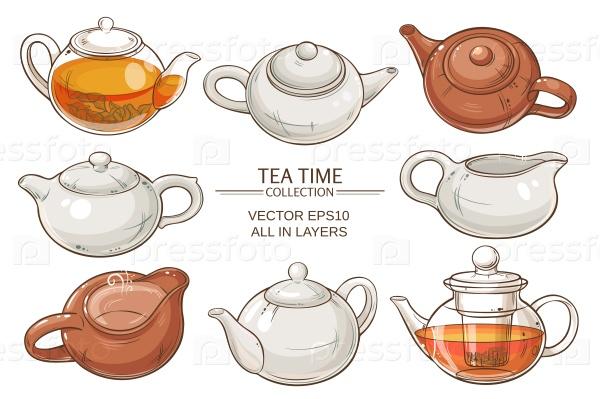 Набор чайников на белом фоне