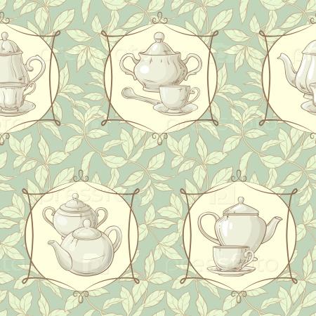 Бесшовный фон с чашкой чая