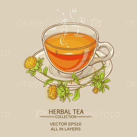 Чашка чая сафлора на цветном фоне