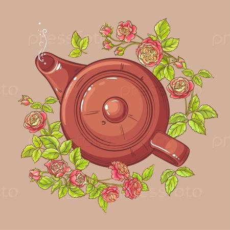 Розовый чай в чайнике на цветном фоне