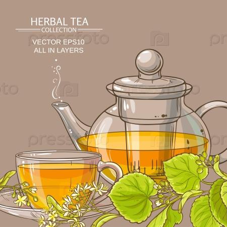 Липовый чай в чайнике и чашка чая на цветном фоне