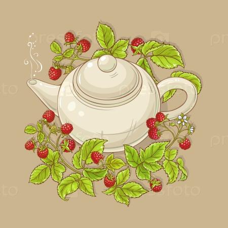 Малиновый чай в чайнике