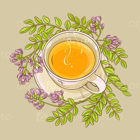 Чашка чая астрагала на цветном фоне
