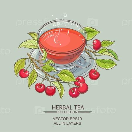 Чашка чая с вишней на цветном фоне