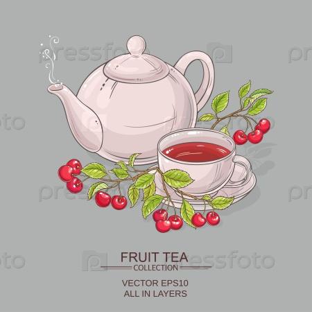 Чашка чая с вишней