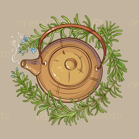 Розмарин и чай в чайнике