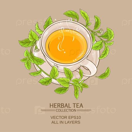 Чашка чая со стевией на цветном фоне