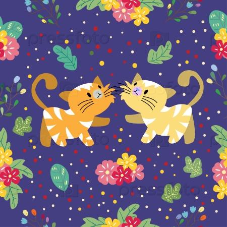 Бесшовный фон с кошками