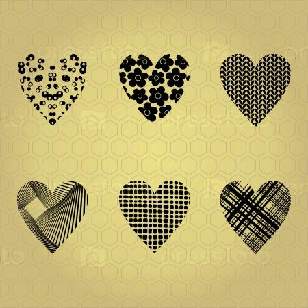 Черные силуэты сердца