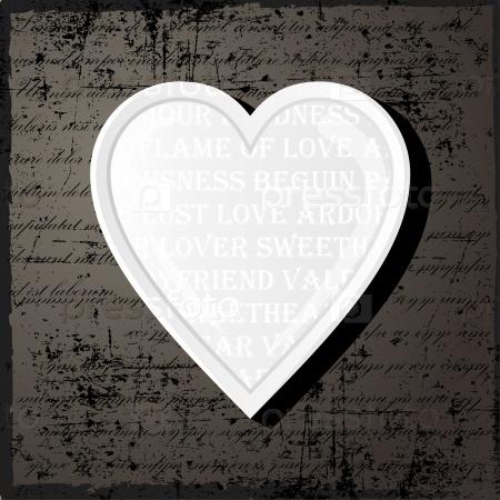 Белое сердце в винтажном стиле