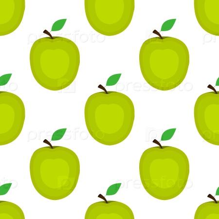Бесшовный фон яблоко на белом