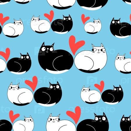 Бесшовный смешной фон влюбленных кошек