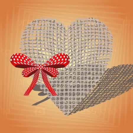 Сердце с красным бантом
