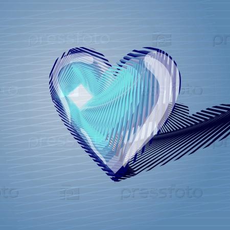 Синее объемное сердце