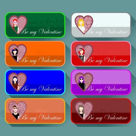 Набор иконок на День Валентина