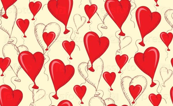 Шаблон бесшовные из сердец