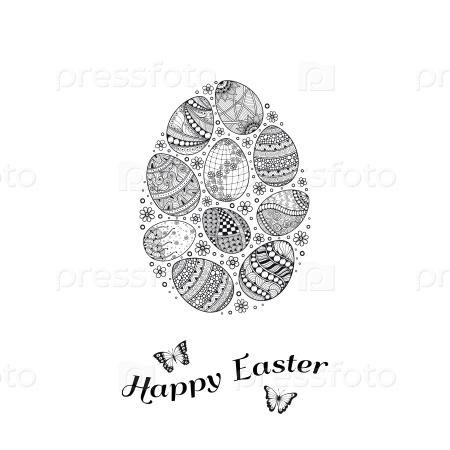 Пасхальная открытка с яйцами