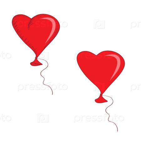 Воздушный шар в виде красного сердца