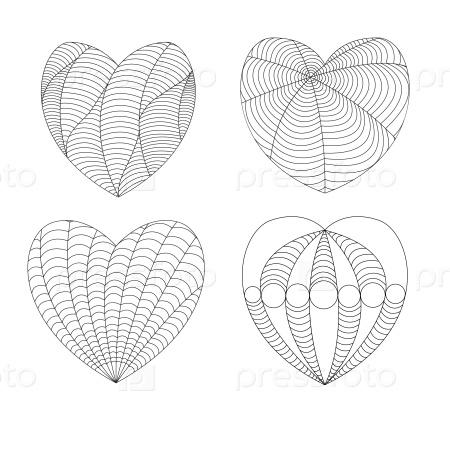 Сердца в стиле дзен-арт