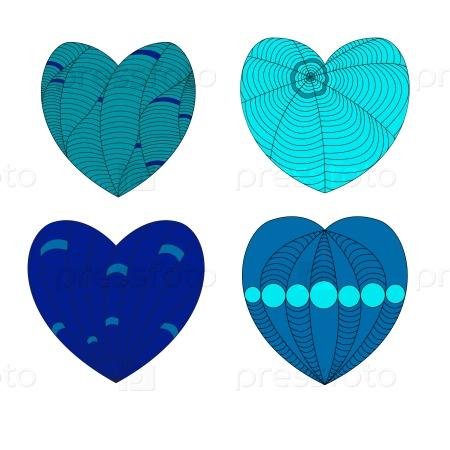Разноцветные сердца в стиле зенарт