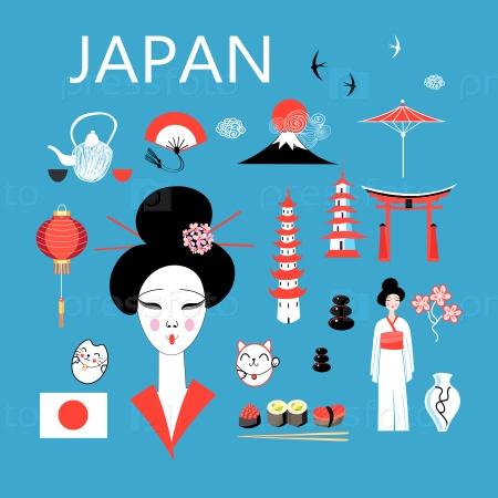 Набор различных элементов для дизайна Японии