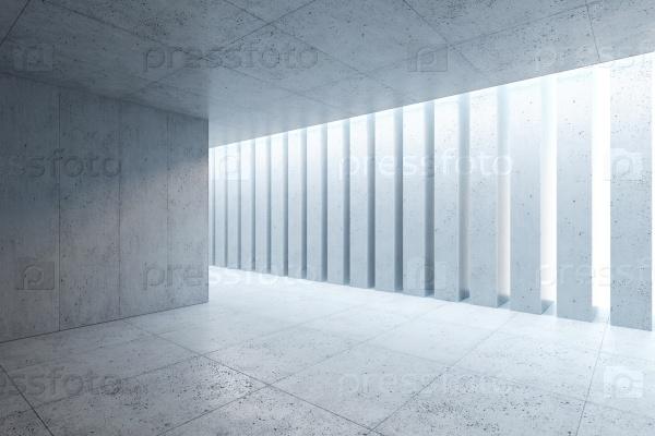 Пустое бетонное пространство интерьера, 3d визуализация