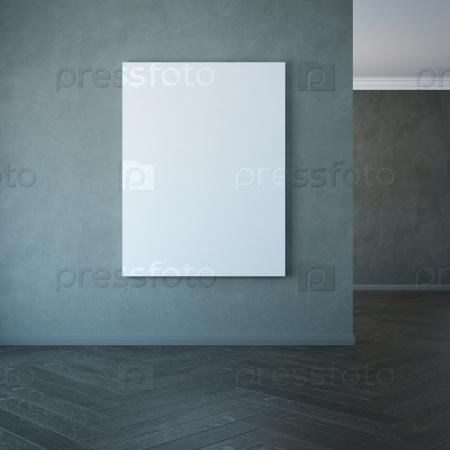 Пустая картина на стене, 3D-рендеринг