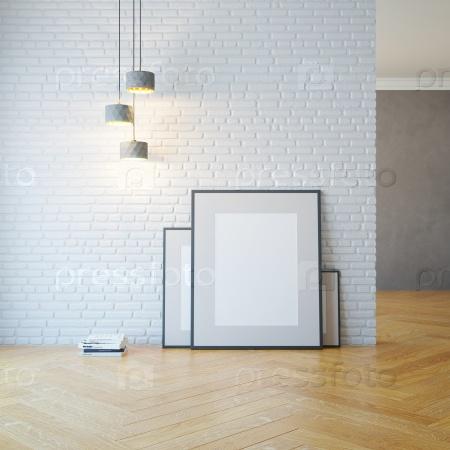 Пустая комната со светлыми и пустыми картинками
