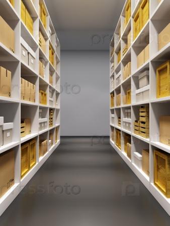 Склад с рядами полок с ящиками