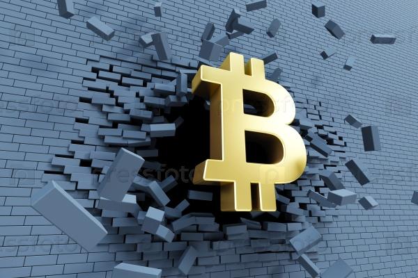 Взрывной рост биткоина, 3D концепции