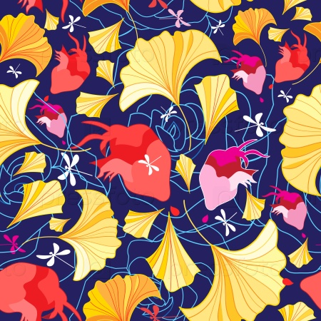 Красивый узор из листьев гинкго и сердца