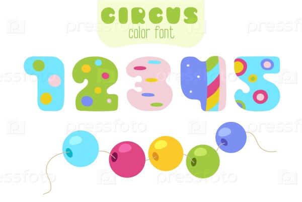 Цифры 1, 2, 3, 4, 5 и шарики