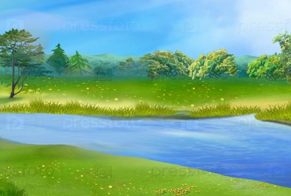 Голубая река в солнечный летний день