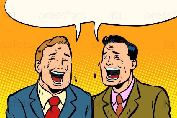 Два друга смеются