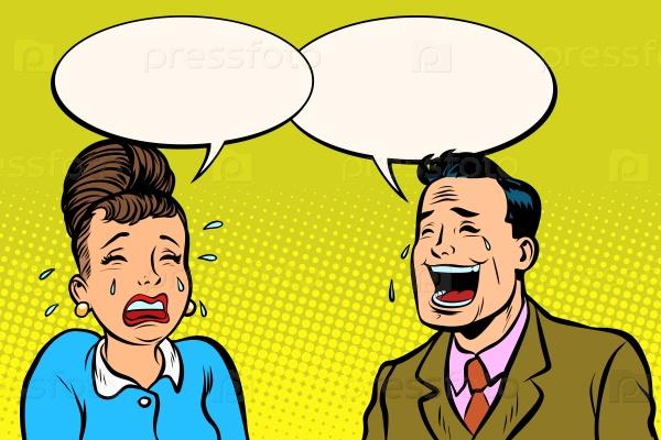 Пара мужчина и женщина, он смеется она плачет