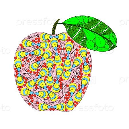 Яблоко с листом в стиле зенарт