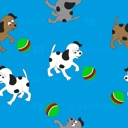 Маленькие собаки играют с мячом