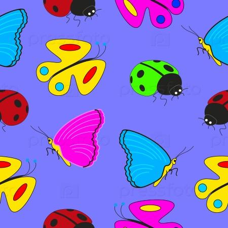 Бесшовный фон насекомых