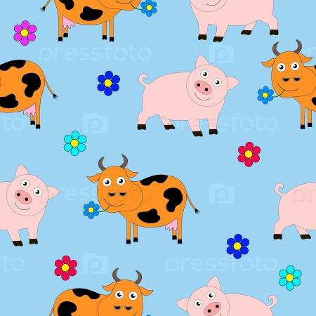Бесшовная текстура свиней и коров