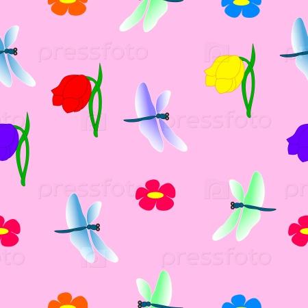 Бесшовный узор стрекоза и цветы