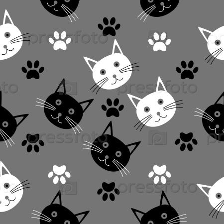 Бесшовные текстуры с головами кошек