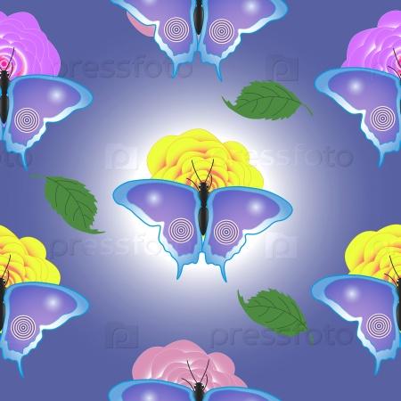 Бесшовные текстуры бабочки и цветы